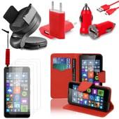 Microsoft Nokia Lumia 640 Lte/ 640 Lte Dual Sim/ 640 Dual Sim: Lot Etui Housse Coque Pochette Accessoires Support Chargeur Voiture Films Stylet Portefeuille Support Video Cuir Pu Effet Tissu - Rouge