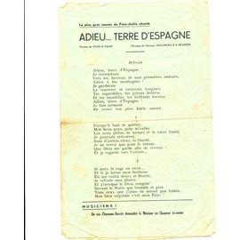 Partitions paroles , 4 chansons , Gloire aux marins du phénix , le temps des cerises , la chanson des blés d'or , adieu terre d'Espagne