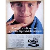 Publicit� Papier - Rasoir M�canique Gillette Contour De 1985