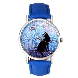 Montre Femme Motif Chat Bracelet Bleu