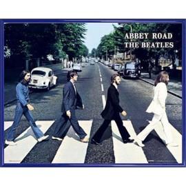 Mini Poster encadré: The Beatles - Abbey Road (40x50 cm), Cadre Plastique, Bleu