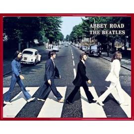 Mini Poster encadré: The Beatles - Abbey Road (40x50 cm), Cadre Plastique, Rouge