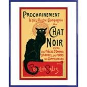 Poster Reproduction Encadr�: Theophile Alexandre Steinlen - Chat Noir (50x40 Cm), Cadre Plastique, Bleu