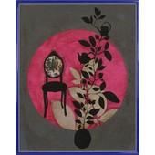 Poster Reproduction Encadr�: Anna Buschulte - Fauteuil Baroque, Plantes, Design Asiatique (50x40 Cm), Cadre Plastique, Bleu