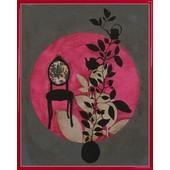 Poster Reproduction Encadr�: Anna Buschulte - Fauteuil Baroque, Plantes, Design Asiatique (50x40 Cm), Cadre Plastique, Rouge