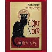 Poster Reproduction Encadr�: Theophile Alexandre Steinlen - Chat Noir (50x40 Cm), Cadre Plastique, Rouge