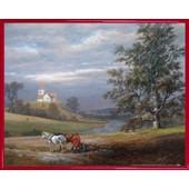 Poster Reproduction Encadr�: Johan Christian Clausen Dahl - Paysage De Pedersborg Pr�s De Sor� Et �glise De Pedersborg, 1832 (40x50 Cm), Cadre Plastique, Rouge