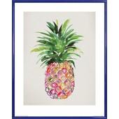 Poster Reproduction Encadr�: Ananas - Ananas Nature Morte, Summer Thornton (50x40 Cm), Cadre Plastique, Bleu