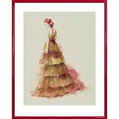 Poster Reproduction Encadr�: Haute Couture - Mannequin Sienna (50x40 Cm), Cadre Plastique, Rouge