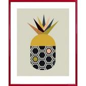 Poster Reproduction Encadr�: Cuisine - Ananas, Little Design Haus (50x40 Cm), Cadre Plastique, Rouge