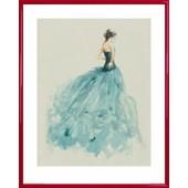 Poster Reproduction Encadr�: Haute Couture - Mannequin Isobel, Esquisse (50x40 Cm), Cadre Plastique, Rouge