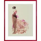 Poster Reproduction Encadr�: Haute Couture - Mannequin Gabriella (50x40 Cm), Cadre Plastique, Rouge