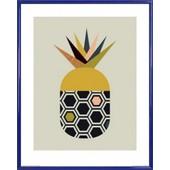 Poster Reproduction Encadr�: Cuisine - Ananas, Little Design Haus (50x40 Cm), Cadre Plastique, Bleu