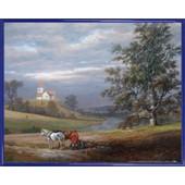 Poster Reproduction Encadr�: Johan Christian Clausen Dahl - Paysage De Pedersborg Pr�s De Sor� Et �glise De Pedersborg, 1832 (40x50 Cm), Cadre Plastique, Bleu