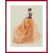 Poster Reproduction Encadr�: Haute Couture - Mannequin Sophia (50x40 Cm), Cadre Plastique, Rouge
