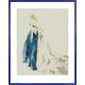 Poster Reproduction Encadr�: Haute Couture - Mannequin Chloe (50x40 Cm), Cadre Plastique, Bleu