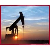 Poster Reproduction Encadr�: Art Industriel - Coucher De Soleil Sur Chevalet De Pompage Au Texas (40x50 Cm), Cadre Plastique, Rouge