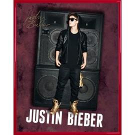 Mini Poster encadré: Justin Bieber - All Around The World, Autographe (50x40 cm), Cadre Plastique, Rouge