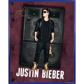 Mini Poster encadré: Justin Bieber - All Around The World, Autographe (50x40 cm), Cadre Plastique, Bleu
