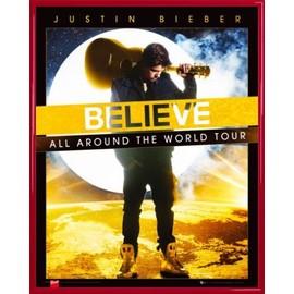 Mini Poster encadré: Justin Bieber - Believe, All Around The World Tour (50x40 cm), Cadre Plastique, Rouge