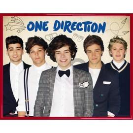 Mini Poster encadré: One Direction - 1D Little Things, Groupe (40x50 cm), Cadre Plastique, Rouge