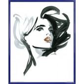 Poster Reproduction Encadr�: Haute Couture - Mannequin Valeria, Michel Canetti (50x40 Cm), Cadre Plastique, Bleu