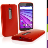 Igadgitz Solide Rouge Brillant �tui Housse Coque Gel Tpu Pour Motorola Moto G 3�me G�n�ration 2015 Xt1540 (G3) Case Cover + Film De Protection