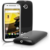Igadgitz Solide Noir Brillant �tui Housse Coque Gel Tpu Pour Motorola Moto E 2�me G�n�ration 2015 Xt1524 Case Cover + Film De Protection