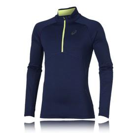 Asics Hommes Bleu Manche Longue Hiver Running Sport Jersey Top T-Shirt Haut