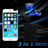XCSOURCE� 3in1 Lentilles grande angle macro Fisheye Fish Eye pour iPhone 4S 4 4G 5 5G 5S 5C 3GS Samsung GALAXY S2 I9100 S3 I9300 S4 I9500 S5 I9600 Note I9220 Note2 N7100 Note3 S3 mini i8190 S7562 HTC DC526