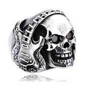 Bague Chevali�re - T�te De Mort, Crane & Guitare �lectrique - Acier / M�tal - Style Skull Devil Biker West Coast Customs Heavy Choppers Sons Of Hard Rock Point Am�ricain