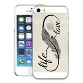 Apple Iphone 5g 5s Coque Etui Housse Gel Silicone Protection Transparent Tpu Case - Love Life Plume