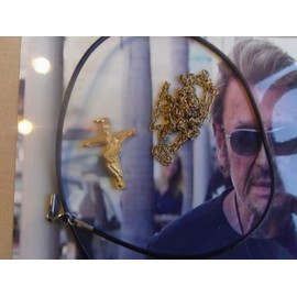 Pendentif Croix Rock Johnny Hallyday. Etain + Or + Cordelette + Chaine. Signature.