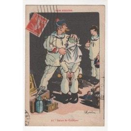 Carte Postale Ancienne GERVESE NOS MARINS SALON DE COIFFURE 1919 MOUSTACHE POMPON ROUGE rasoir barbier marin