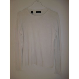 Pull Blanc Col Rond Zara Homme Taille L Coton & Rayon