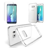 Film Verre Tremp� Int�gral Total Incurv� Samsung Galaxy S6 Edge Transparent + 1 Coque Silicone