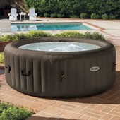 Intex Pure Spa Rond Gonflable A Jets 4 Places 196x71cm - Marron