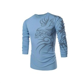 T Shirt Manches Longues Homme Dragon Tribal Fashion Mode Col Rond Look Branch� Classe Et Tendance