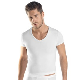 Hanro Micro Touch Haut � Manches Courtes Col-V Homme - Blanc 073108-0101 Small