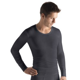 Hanro Woolen Silk Haut � Manches Longues Homme - Gris 073402-0176 Small