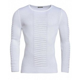 Pull Blanc Moulant Homme � Coutures