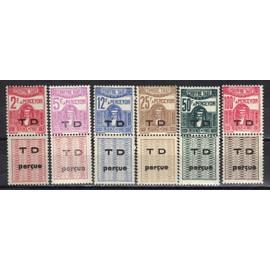 TUNISIE PROTECTORAT FRANCAIS 1945 : Déesse carthaginoise - Série entière de 6 timbres-taxe NEUFS ** surchargés TD joint à une étiquette burelée avec TD perçue en surcharge