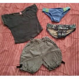 2 Maillots De Bain + 1 Short + 1 T-Shirt Gris