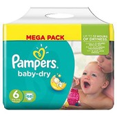 Pampers Baby Dry Taille 6 (Extra Large) 15 Kg Et P