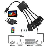 4 en 1 Micro USB Hub adaptateur OTG Extension Cable pour Android Samsung Tablet