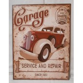 Plaque Publicitaire M�tal Garage Service And Repair Since 1951 Auto Moto Voiture D�coration Mur Vintage 33x25 Cm Aligatore Deco