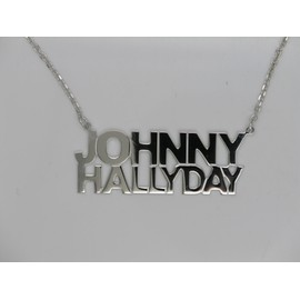 Pendentif Johnny Hallyday. Argent Massif. + Rhodium Chaine For�a 50
