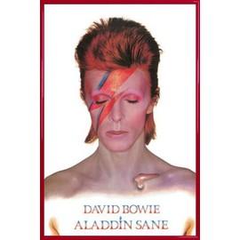 Poster encadré: David Bowie - Aladdin Sane (91x61 cm), Cadre Plastique, Rouge