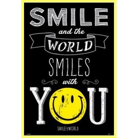 Poster Encadr�: Smileys - Smile And The World Smiles With You (91x61 Cm), Cadre Plastique, Jaune