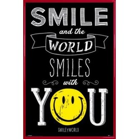 Poster Encadr�: Smileys - Smile And The World Smiles With You (91x61 Cm), Cadre Plastique, Rouge